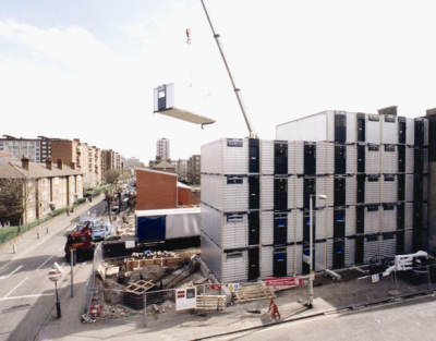 Modular units used in multi storey social housing project in London (Image  courtesy of Yorkon)