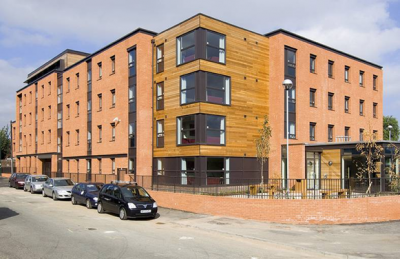 Student residence in Sheffield using modular construction with communal  space at ground floor (Image courtesy of Unite Modular Solutions)