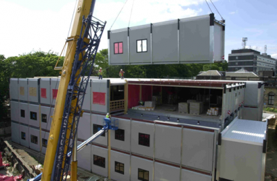 Modular hospital building during installation of open sided modules (Image  courtesy of Yorkon)